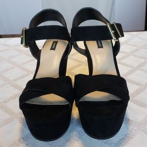 Mango Sandals in black faux suede